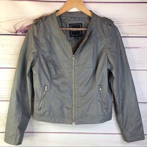 Love Moi Faux Leather Cropped Grey Moto Jacket